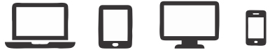 Different types of devices (Notebook, tablet, desktop PC, smartphone).